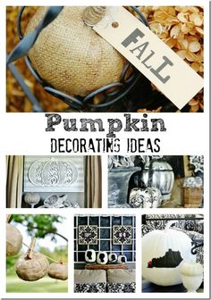 Pumpkin decorating ideas.  Projects include mercury glass pumpkin, state pumpkin and so many more!