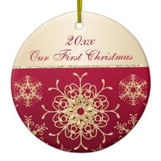 Red, Gold 1st Christmas Keepsake Ornament, newly weds, first Christmas - customise with your own text