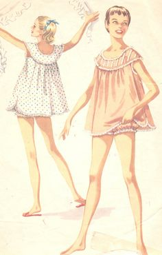Vintage 1950s Juniors Shortie Nightgown and Bloomers Size 13 McCalls 3502 UNCUT Sewing Pattern 50s Nightie PJ's. $7.00, via Etsy.