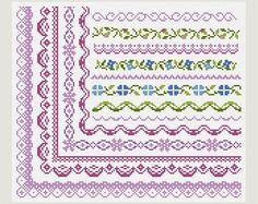 Cross Stitch patterns- Cross Stitch border- Cross Stitch edge- Counted cross stitch- Embroidery Borders- PDF- Instant download
