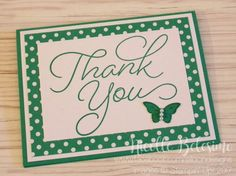 """Thank you card in Emerald Envy, made with """"So Very Much"""" stamp set from Stampin' Up!  www.nicollebelesimo.stampinup.net"""