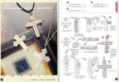 Crystal Beaded Cross - Beaded Jewelry Patterns 水晶串珠十字架