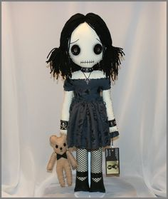 Hand Stitched Rag Doll With Teddy Bear Creepy by TatteredRags