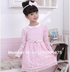 New Spring And Autumn Girls' Lace Dress Princess Dress Children Clothing long Sleeve Dress Free Shipping CL004