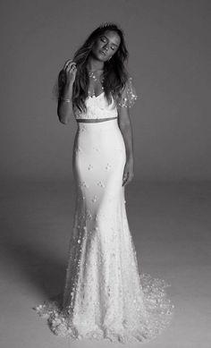 butterfly sleeve two piece wedding dress with glamorous embellishments via  rime arodaky Two Piece Wedding Dress 30ddf97aa7