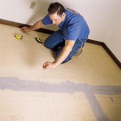 A step-by-step guide to preparing the floor and installing peel-and-stick tiles Baseboard Molding, Shoe Molding, Peel And Stick Floor, Peel And Stick Vinyl, Vinyl Tile Flooring, Vinyl Tiles, Tile Layout, Floor Layout, Tile Cutter