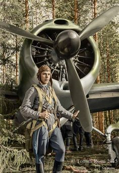 Staff Sergeant Eero Kinnunen and his Brewster 239 fighter of Squadron at Selänpää airfield, Kouvola, Finland. Ww2 Aircraft, Military Aircraft, Brewster Buffalo, History Of Finland, Finnish Air Force, Flying Ace, Germany Ww2, Colorized Photos, Staff Sergeant