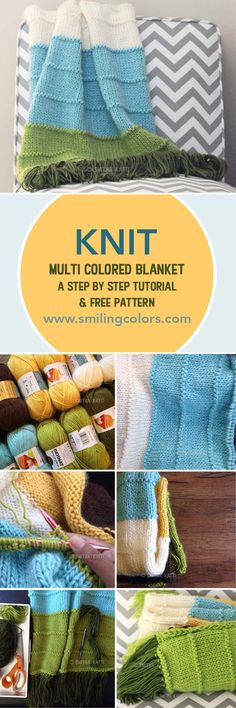 Knit multi colored blanket. Free pattern and photo tutorial, www.smilingcolors.com