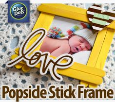 All you need are Glue Dots, popscicle sticks and a few chipboard accents from your scrapbooking stash to make this quick and cute popsicle stick frame.