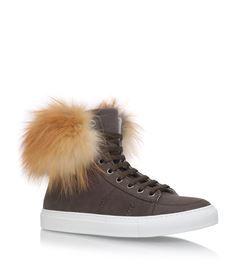 £490.00 Yves Salomon Fur Trimmed High-Top Sneakers