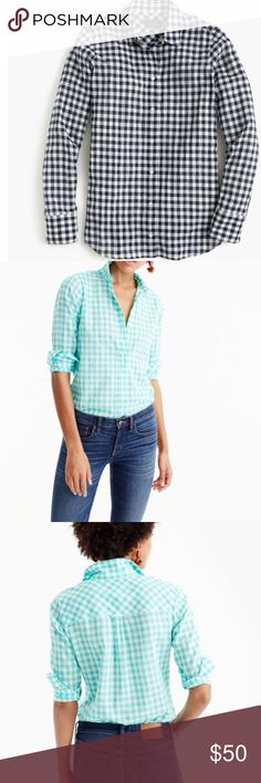 J. Crew Women's Boy Shirt in Navy Crinkle Gingham In terms of hands-down closet essentials, this boy shirt ranks up there with blue jeans, chinos and little black dresses. Featuring a boyfriend-inspired fit that's tailored especially for you, this one sports navy gingham! Like New! Cotton/elastane. Long roll-up sleeves. Button placket. Machine wash. Import. J. Crew Tops Button Down Shirts