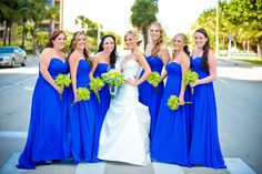 Loving this shade of blue. The wedding dress it to die for and the bouquet, stop it! Cymbidium orchids with blue delphinium, lime green roses and hosta foliage Green Gold Weddings, Green Wedding, Spring Wedding, Plan My Wedding, Cute Wedding Ideas, Wedding Pics, Wedding Trends, Wedding Reception, Wedding Stuff