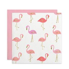 Flamingo Foil Cocktail Napkins with gold foil accents available at shoppigment.com. Visit our online store today for the cutest party accessories!