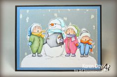 Art Impressions Rubber Stamps Tiny Tots! > Caroling Tots (Sku#T3607) Christmas winter card