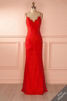 Amineh - Red lace mermaid gown