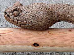 rattle snake | Walking Sticks and Original paintings by Mike Stinnett