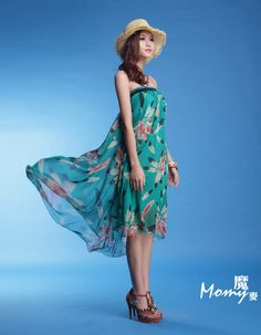 Green feathers dress~-FashionTheBox.Com