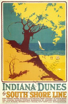 Indiana Dunes vintage South Shore Line poster repro 24x36