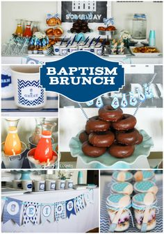 An 8 is Great Baptism Brunch using a blue and aqua color scheme with necktie accents is perfect for a little boy to celebrate his exciting day. Baptism Food, Baptism Ideas, Boy Baptism Party, Baptism Pictures, Baptism Reception, Getting Baptized, Baby Boy Christening, Baby Dedication, Baptism Invitations