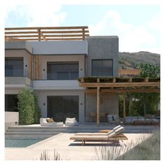 The facades design is based on a philosophy of adding and decomposing wooden materials; this technique provides shade and privacy, while the materials harmoniously blend in with the scale and style of their surroundings. Entrance Design, Facade Design, Architecture Design, Outdoor Spaces, Outdoor Decor, Crete, Facades, Philosophy, Scale
