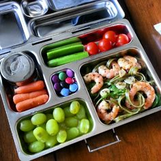 Planetbox lunch - Spinach spaghetti with garlic shrimp
