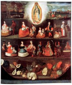 luis de mena - casta painting (with our lady of guadeloupe and vegetable still life), 1750, museo de américa, madrid.