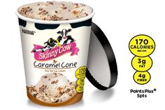 Caramel Cone: Low-fat caramel ice cream is doubly delish with caramel swirls and chocolatey-covered cone chunks.