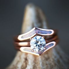 Rose Gold & Opal Engagement Ring. Hancrafted by Staghead Designs.