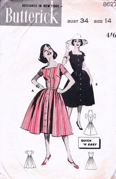 1950s Vintage sewing pattern Butterick by allthepreciousthings