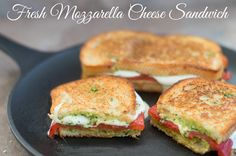Mozzarella Cheese Sandwich made with fresh cheese, roasted red peppers & homemade arugula pesto spread. Eat for Sunday brunch, easy brown bag lunch sandwich