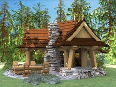 of wood. Gazebo, Pergola, Wooden Arbor, Arbors, Outdoor Structures, Cabin, House Styles, Home Decor, Homemade Home Decor