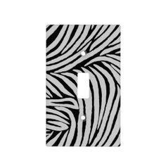 Grey and Black Zebra Print Light Switch Cover