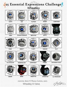 Wheatley Expressions Meme by on DeviantArt Portal Memes, Portal Wheatley, Expression Challenge, Portal Art, Valve Games, Aperture Science, You Monster, Emotion, Fandoms