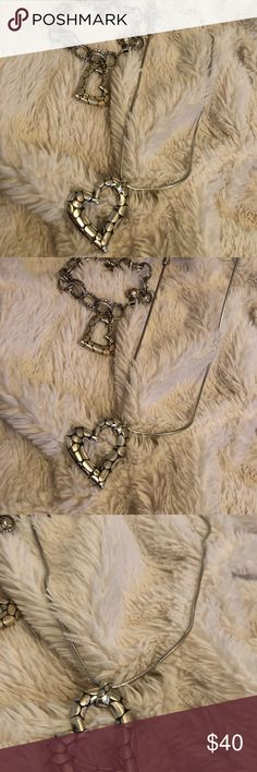 BRIGHTON HEART SET BRACELET & NECKLACE This really cute Brighton Set is in very good condition.   So cute y'all! Brighton Jewelry