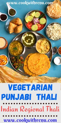 Vegetarian Punjabi thali is a lip-smacking thali from the state of Punjab which has a range of rich buttery and paneer based dishes with gluten free makki di roti and Jeera rice. . #CookwithRenu #Punjabi #Thali #Vegetarian #Platter #Recipes #Paneer #Makkidiroti #DalPalak #yummy #delicious #gajarhalwa #matarpaneer #palakpaneer #jeerarice #papad #chutney #samosa #buttermilk #chaas Tasty Vegetarian Recipes, Meat Recipes, Vegetarian Platter, Dinner Recipes, North Indian Recipes, Indian Food Recipes, Ethnic Recipes, Diwali Food, Indian Kitchen