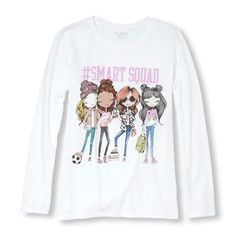 7eae00680 Girls Long Sleeve 'Smart Squad' Fashionista Graphic Tee | The Children's  Place Graphic Tees