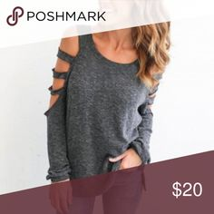 "Boutique • Laser Cut Long Sleeve Insanely soft and comfortable long sleeved top with cold shoulder and laser cut out sleeve detailing. Perfect with some black leggings. Salt and pepper heather color.  Approx. Measurements: ꊛ 19"" armpit to armpit ꊛ 27"" length  Excellent gently preloved condition with no rips, holes or stains. 1.4.3. Story Tops Blouses"