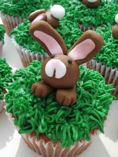 Easter Bunny, roll out tootsie rolls to make bunny . You can use pink flavor tootsie rolls for ears , nose & mouth .You could also use a whopper for bunny head . Use a tooth pick to shape paws & mouth . Melt chocolate chips & dot eyes with toothpick .Use Wilton decorating tip # 233 for grass .