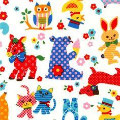 cute animal fabric bear cat rabbit pony by Kokka