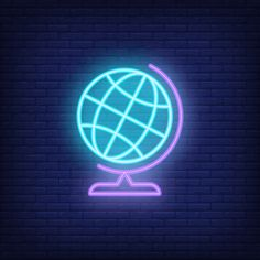 blue globe on stand. Neon Light Wallpaper, Wallpaper Iphone Neon, Iphone Wallpaper Tumblr Aesthetic, Iphone Logo, Iphone Icon, Blue Aesthetic Pastel, Neon Aesthetic, Planeta Venus, Cool Neon Signs