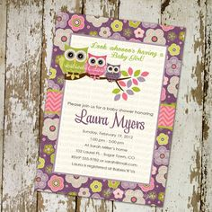 owl baby shower invitations with owls, purple, pink and green, digital, printable file (item1352b)