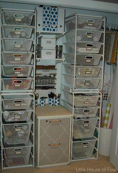 A dream craft closet using IKEA Algot system.