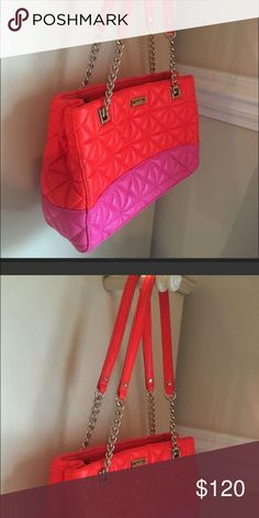 """Kate spade purse New without tags 11.5 long 8"""" tall 4""""wide  Shoulder drop is about 10"""" Tags removed but never used Bright orange and pink Comes with cloth bag kate spade Bags"""