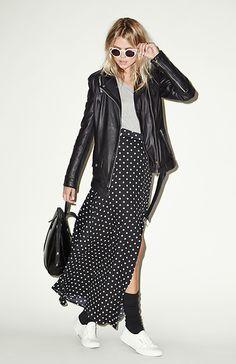 dailylook polka dot maxi skirt in black white xs l dailylook
