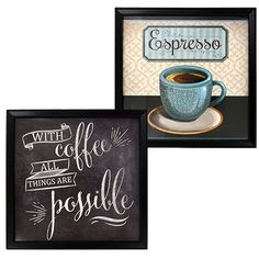 Special Moments Coffee Art Prints with Black Plastic Frames, 9x9 in.