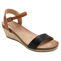 Target Eve Quarter Strap Sandals $25, also comes in coral and navy stripe, low wedge heel
