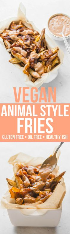 These Vegan Animal Style Fries are amazing! Gluten Free, Dairy Free, and ready in less than 45 Minutes. #Vegan #plantbased #animalstylefries #fries #frenchfries #animalstyle #oilfree #glutenfree #dairyfree #lowfat #onion #potato