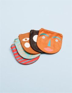 Baggu Small Leather Zip Pouch- Multi