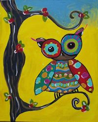 Tree Owl. A class of the paint and sip kind at www.whimsyartstudio.com