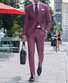 Our Lecce burgundy suit. What do you think about this look Gents?  Cut from a lightweight wool and mohair fabric by our Italian friends over at Vitale Barberis Canoncio.  www.Grandfrank.com